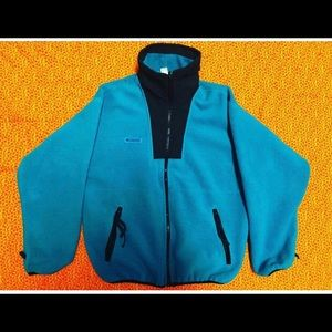 Vintage Teal Columbia fleece zip up